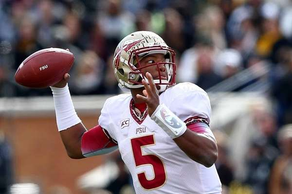 Florida State quarterback Jameis Winston drops back to
