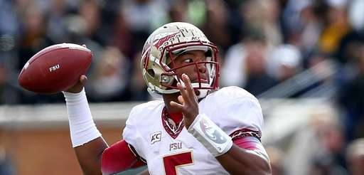 Florida State quarterback Jameis Winston drops back to