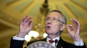 Senate Majority Leader Sen. Harry Reid speaks to