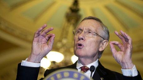 Senate Majority Leader Sen. Harry Reid speaks to