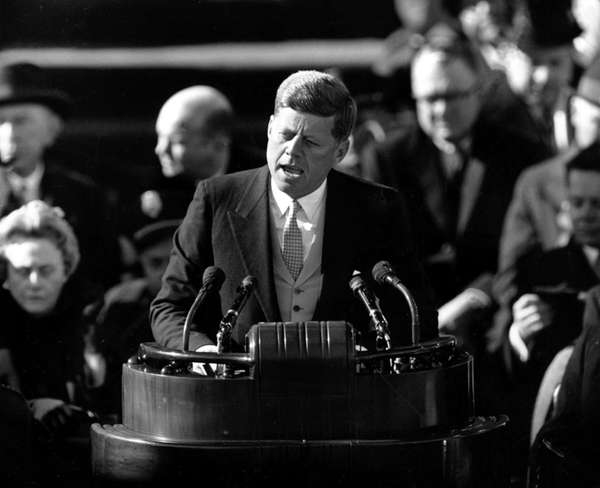 President John F. Kennedy delivers his inaugural address