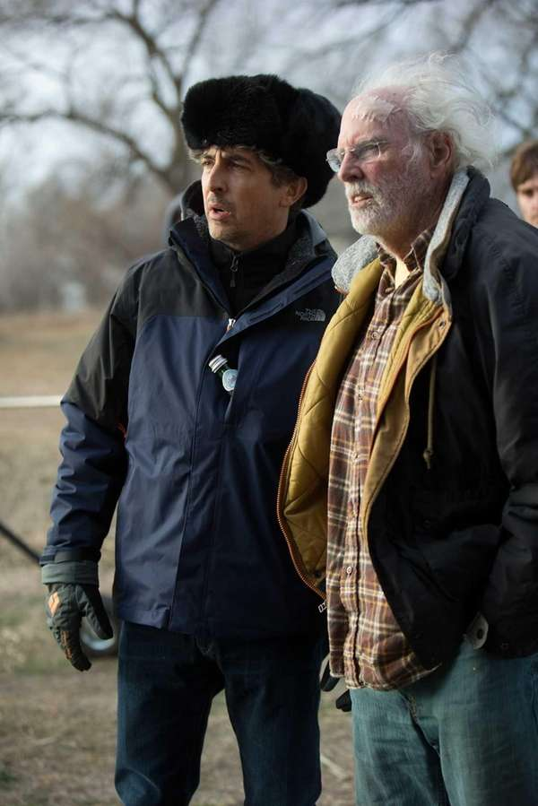 "Alexander Payne and Bruce Dern in ""Nebraska."""