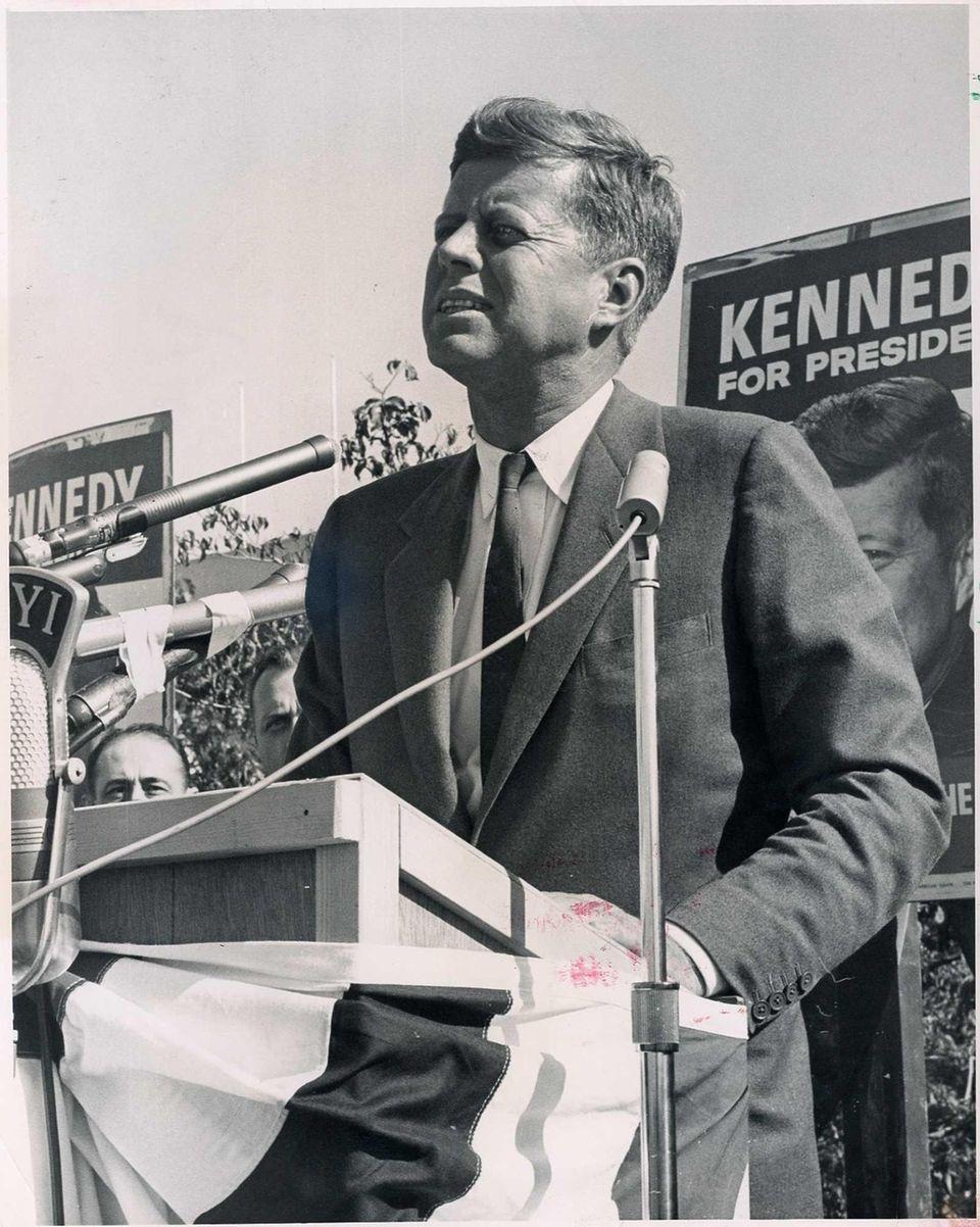 Sen. John F. Kennedy speaks at Roosevelt Raceway.