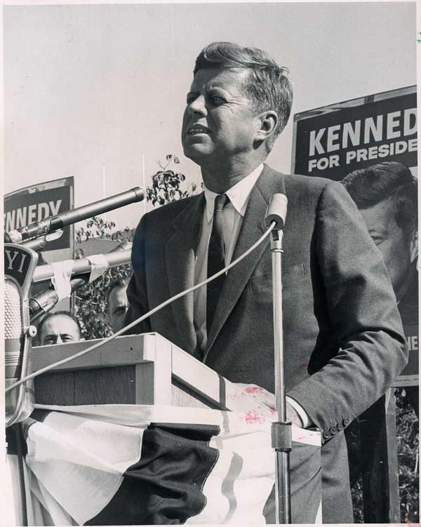 Sen. John F. Kennedy speaks at Roosevelt Raceway