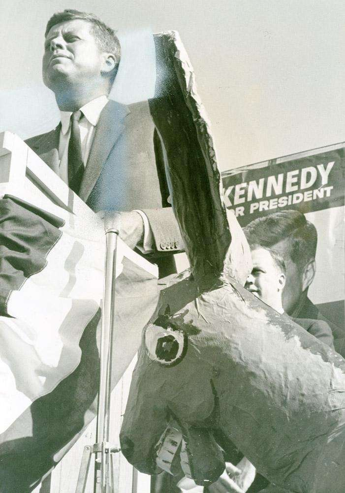 Sen. John F. Kennedy speaks at Roosevelt Raceway.