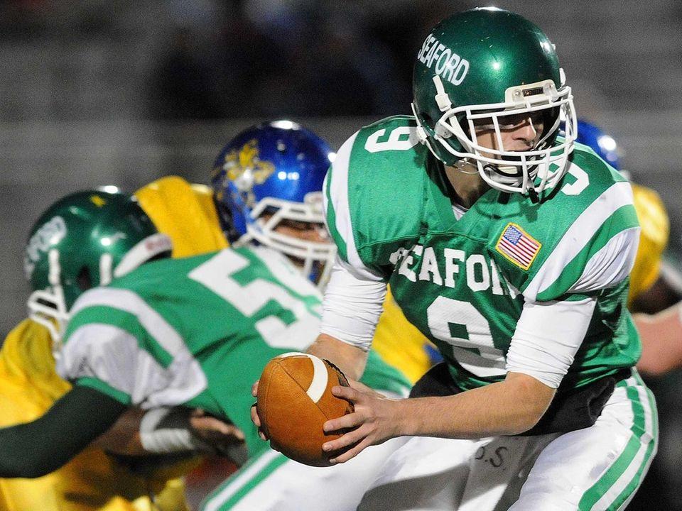 Seaford quarterback Kyle Kolodinsky takes a snap during