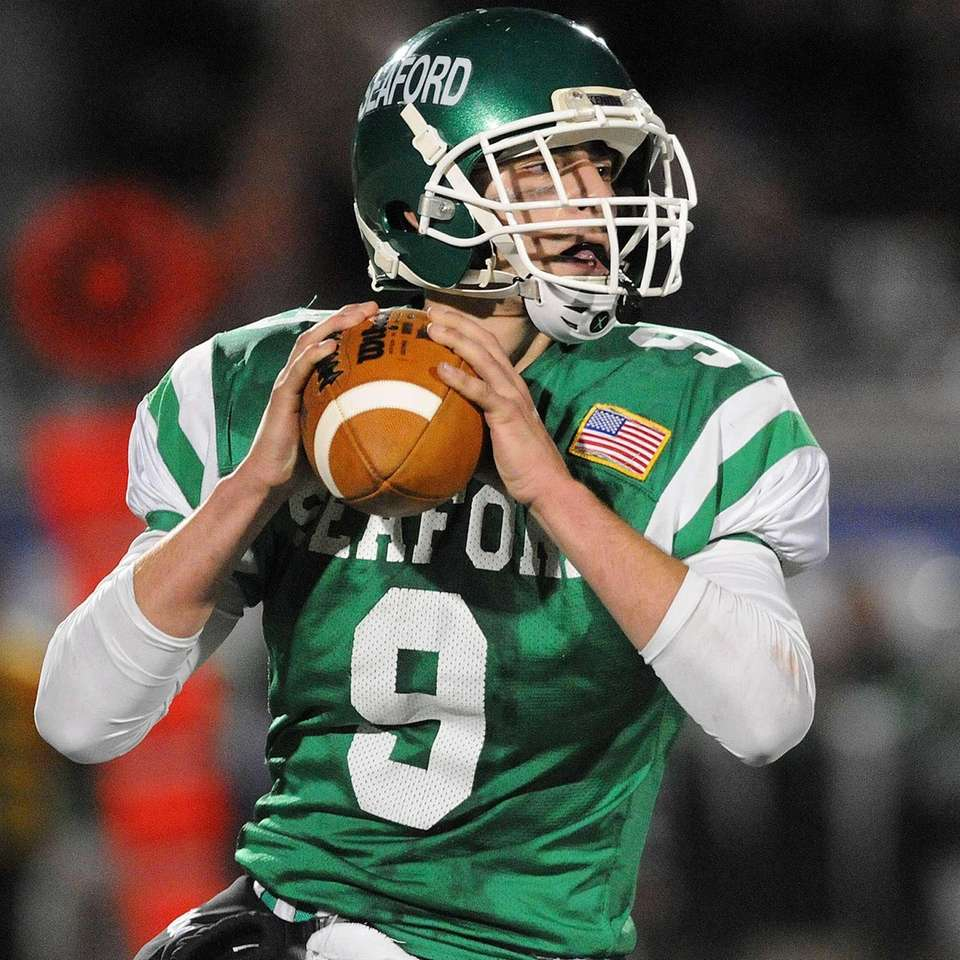 Seaford quarterback Kyle Kolodinsky looks for an open