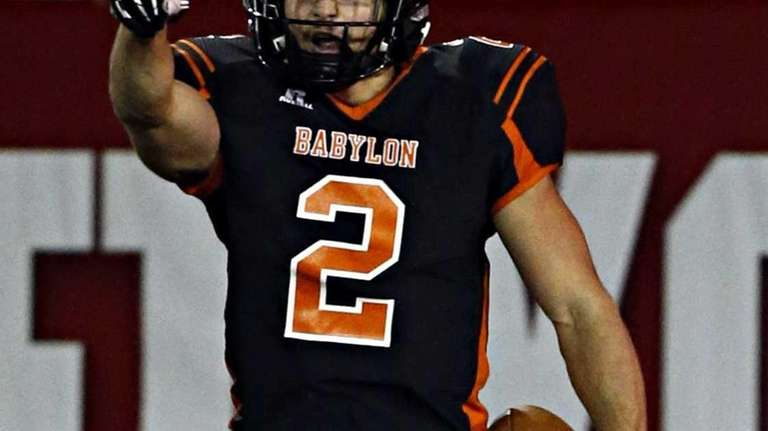 Babylon's Luke Zappia reacts after scoring his second