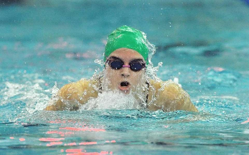 Manhasset's Megan Smith swims in a preliminary heat