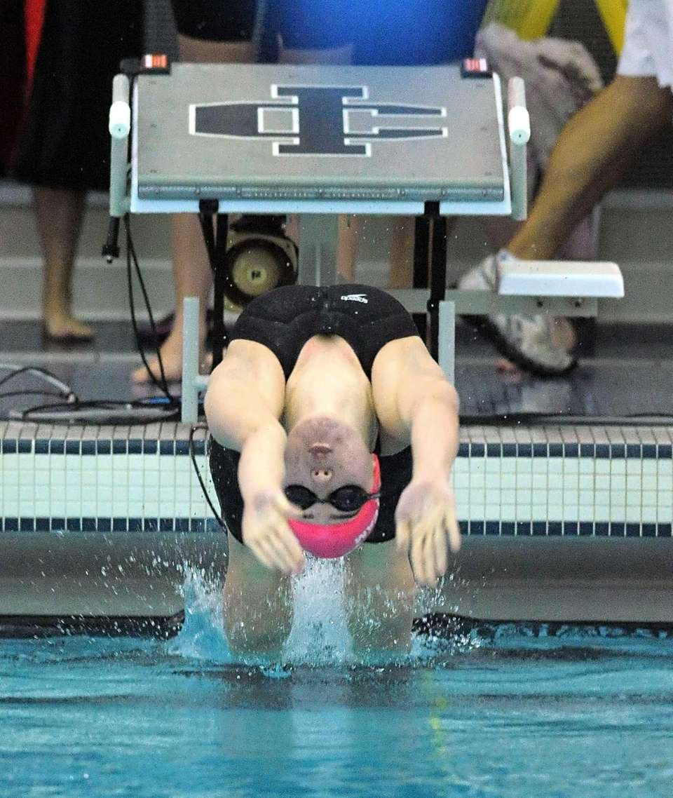 St. Anthony's Melissa Bischoff swims in a preliminary