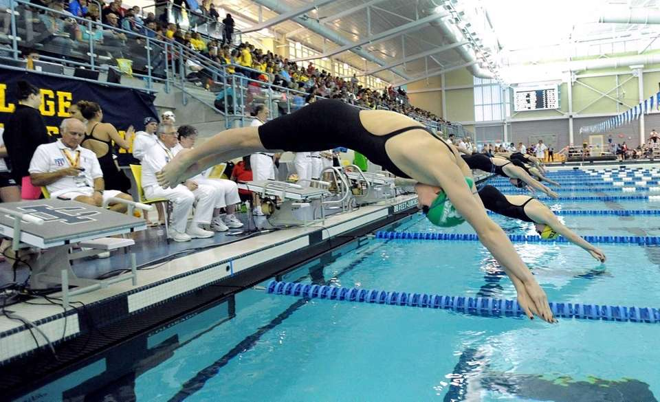 Manhasset's Kylie Mulholland swims in a preliminary heat
