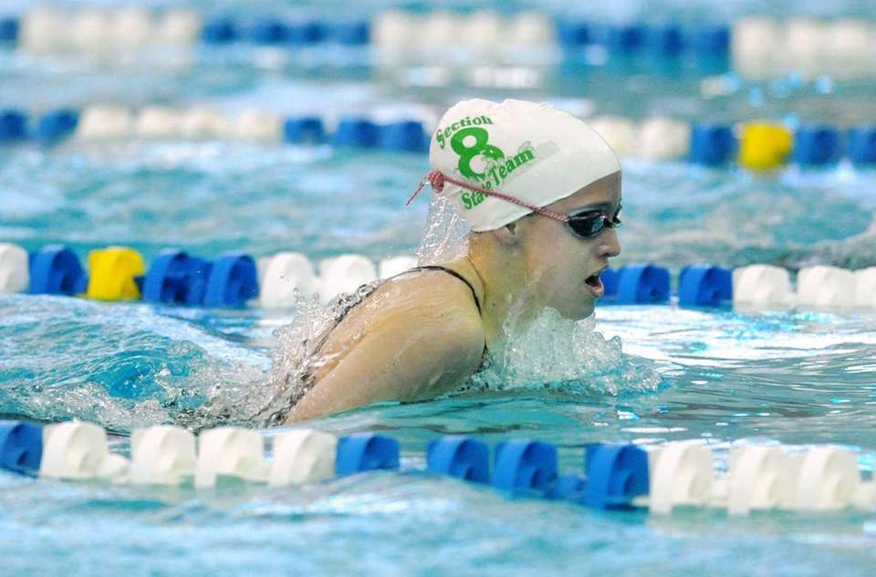 Bellmore-Merrick's Paige Kaplan swims in a preliminary heat