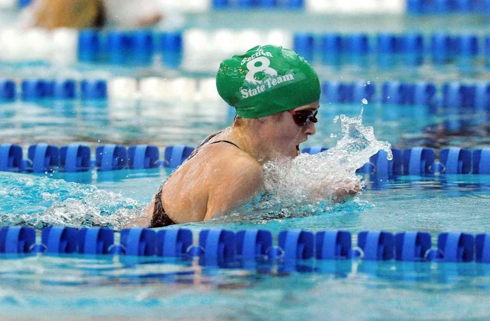 Manhasset's Madeleine Quinn swims in a preliminary heat