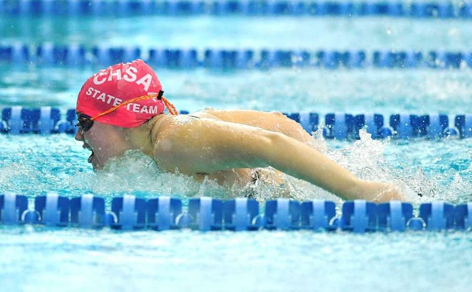 St. Anthony's Kylie Danin swims in a preliminary