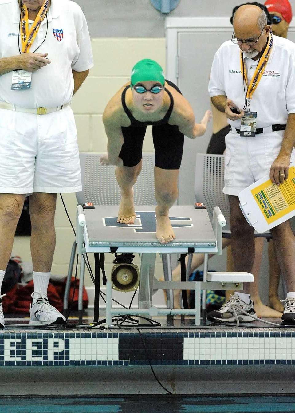 Great Neck South's Natalie Wong swims in a