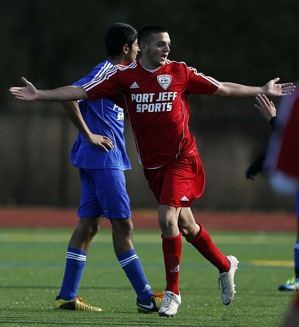Suffolk's Mark Ciaburri celebrates his score during the