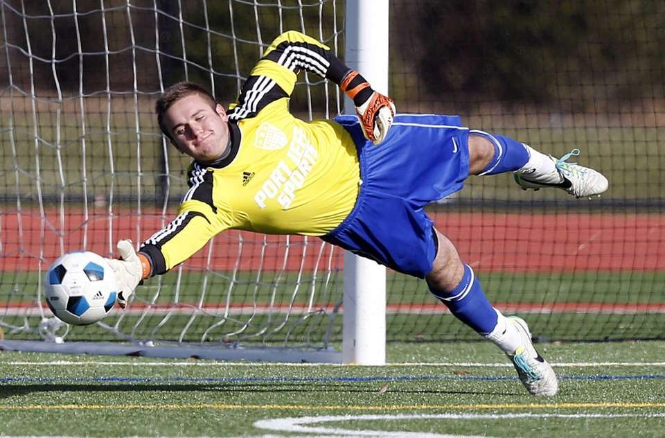 Nassau keeper Pat Doody is unable to reach
