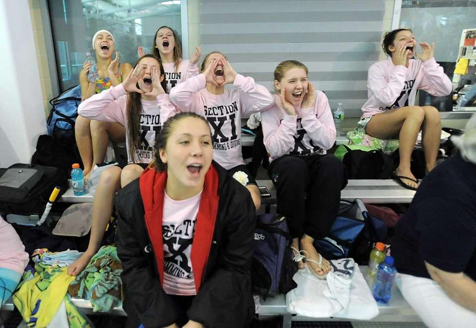 Section XI swimmers let out a cheer prior