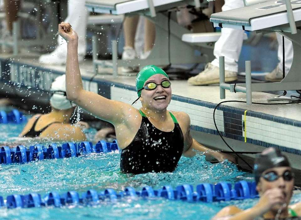 Long Beach's Margaret Aroesty celebrates her win in