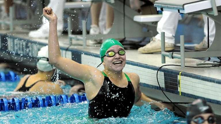 Long Beach's Margaret Aroesty celebrates her win in