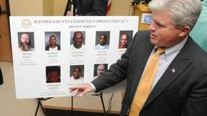 Suffolk County Executive Steve Bellone looks at the