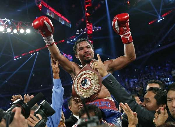 Manny Pacquiao from the Philippines wears the champion's