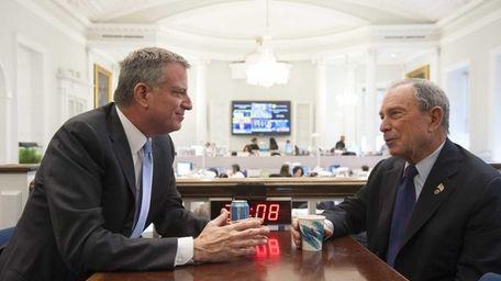 New York City Mayor-elect Bill de Blasio, left,