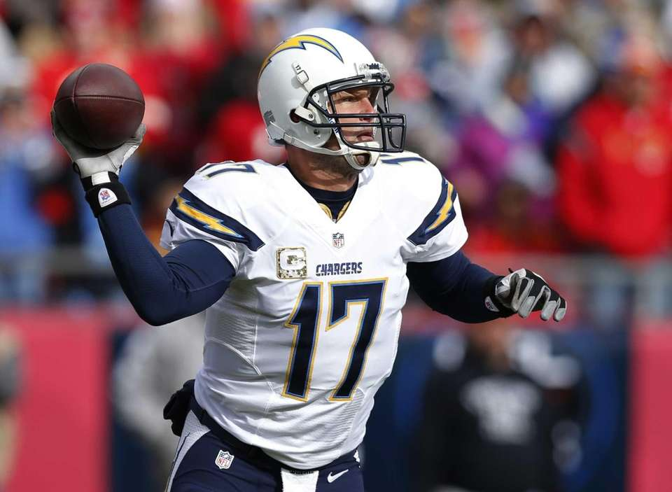 San Diego Chargers quarterback Philip Rivers passes to