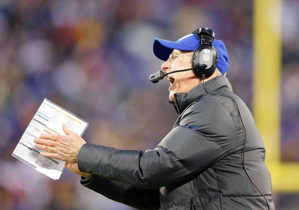 Tom Coughlin looks on during the first half