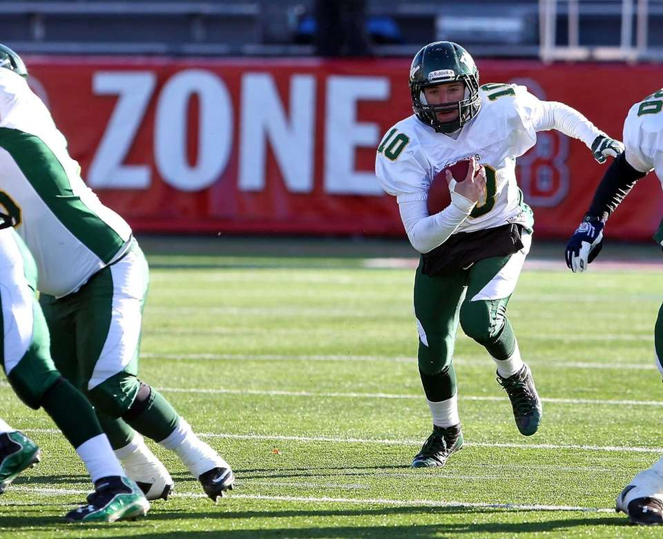 William Floyd quarterback Eric Brust (no.10) takes the