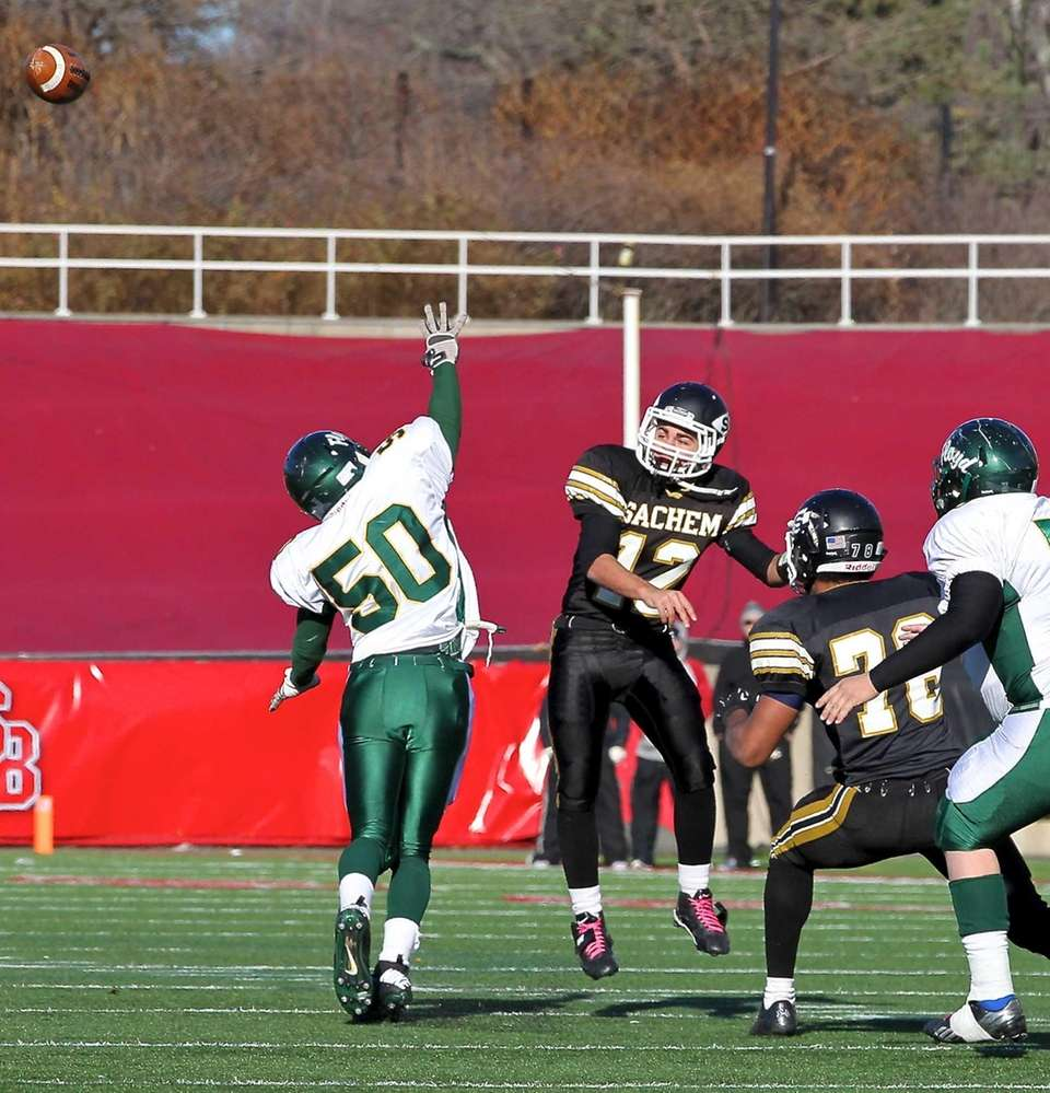 Sachem North quarterback Mike Licata (no.12) attempts a