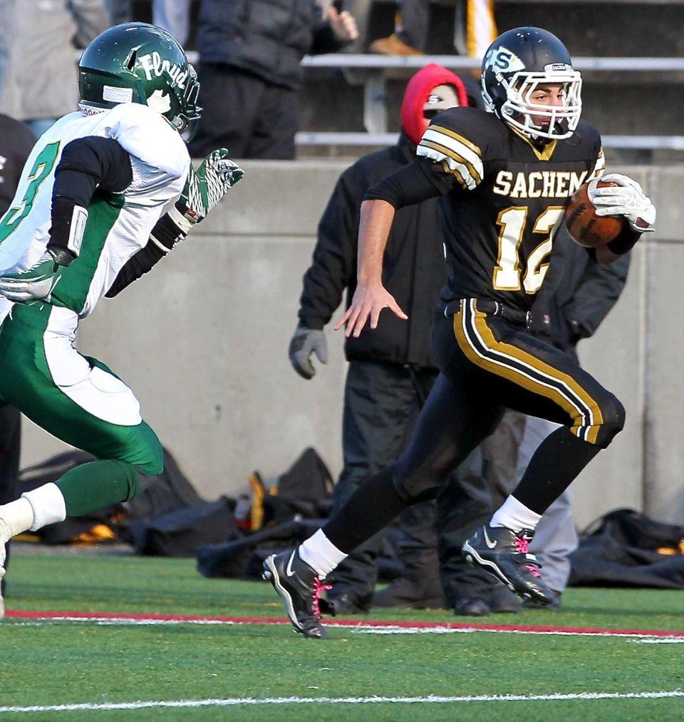 Sachem North quarterback Mike Licata (no.12) heads up