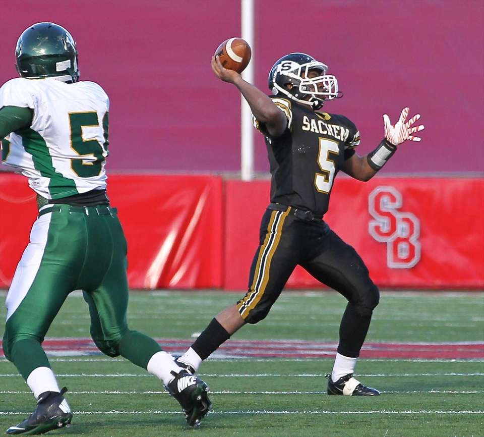 Sachem North running back Malik Pierre (no.5) turns