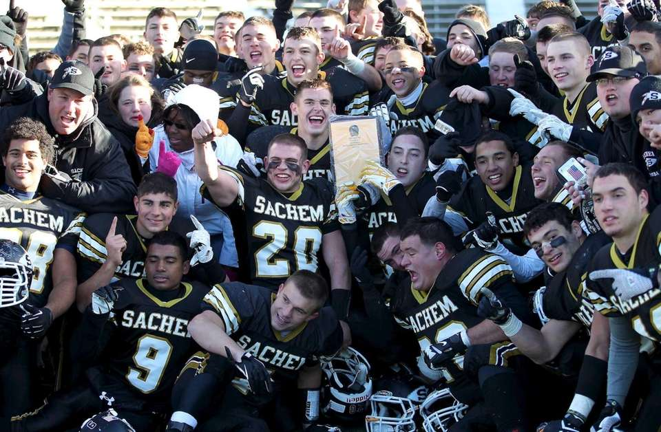 Sachem North players celebrate their championship win over