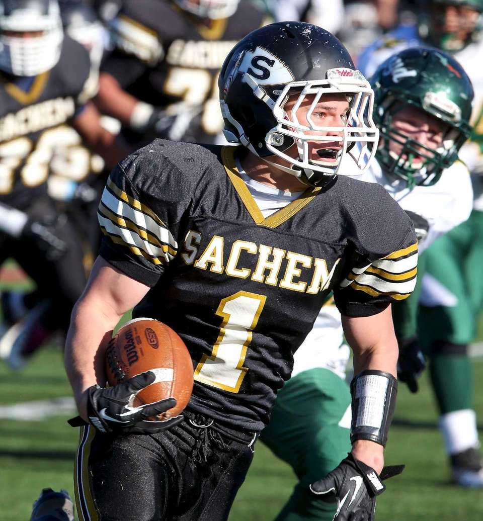 Sachem North running back Trent Crossan (no.1) turns
