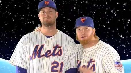 A screenshot from a Mets.com holiday video featuring