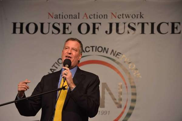 Mayor-Elect Bill DeBlasio speaks at the National Action