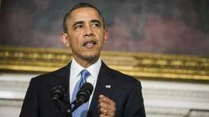 President Barack Obama makes a statement announcing an