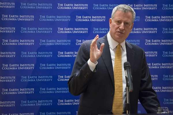 New York City Mayor-elect Bill de Blasio speaks