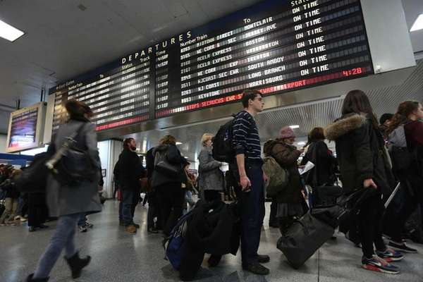 The scene at Penn Station as travelers begin