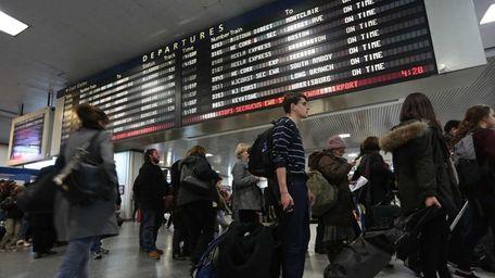 The scene at Penn Station as travelers begin