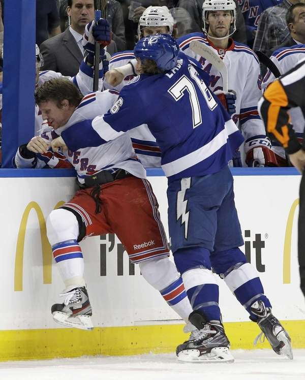 Tampa Bay Lightning left wing Pierre-Cedric Labrie (76)