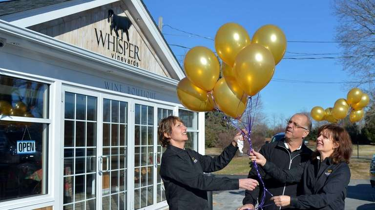 Barbara Perrotta, Steve and Laura Gallagher, owners of