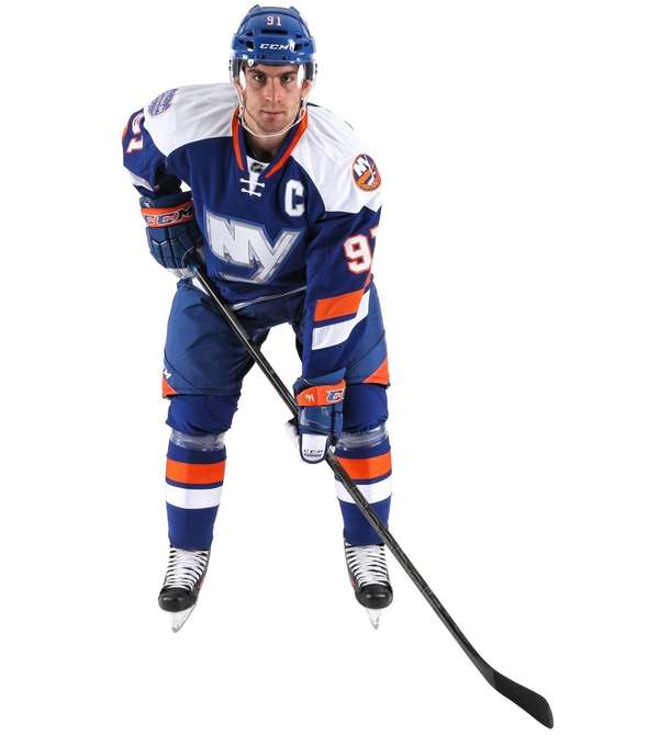 John Tavares models the jersey the New York