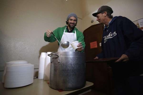 Jets quarterback Mark Sanchez, left, pours a bowl
