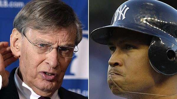 This composite of two AP photos shows MLB