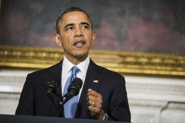 President Barack Obama makes a statement in the