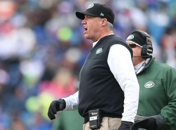 Jets head coach Rex Ryan yells from the