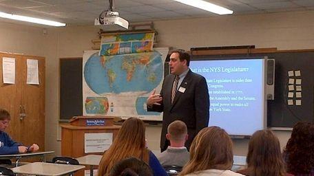 State Assemb. Chad Lupinacci (R-Huntington) visited Huntington High