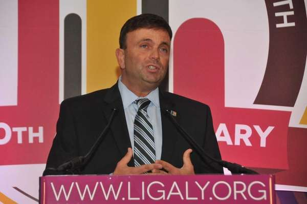 David Kilmnick addresses supporters at Long Island Gay